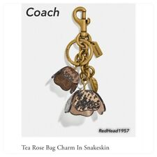 Coach Tea Rose Bag Charm In Snakeskin