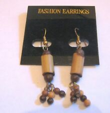 Lovely wooden beaded dangle style earrings approx 1¾ ins long
