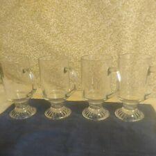 Irish Coffee Tea Mugs Cups Barware 6 oz Clear Cut Glass Pedestal Set Of 4