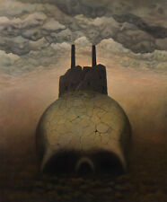 "Skull Ghosts Horror Holocaust Fantasy Surrealism Original Oil Painting 30"" x 36"""