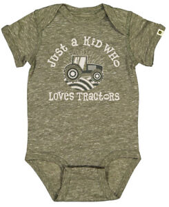NEW John Deere Olive Green Just a Kid Who Loves Tractors Bodysuit 6 12 18 M
