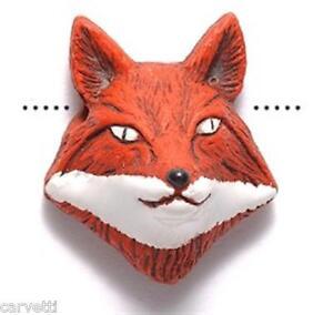 Peruvian Ceramic Red Fox Face Pendant Focal Bead (1) Hand Painted