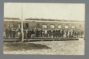 Hettinger NORTH DAKOTA RPPC c1910 DEPOT Train Station C.M. & ST. P. RR Band
