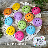 "12 Colorful SMILEY FACE Pins 1.25"" BUTTONS New USA Made PARTY FAVORS Happiness"