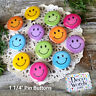 "12 SMILE FACES 1.25"" PIN BUTTONS New USA Smiley Face Mask Flair hat Happy Pins"