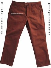 NUOVA linea uomo Marks & Spencer Arancione Pantaloni Slim Vita 34 Gamba 32 etichetta guasto