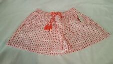 New Women's Casual Isani Coral Pink White Embroidered Shorts Drawstring Waist S