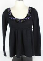 Free People Womens S Wool Blend Peasant Sweater Black Sequins Open Back Tie GUC