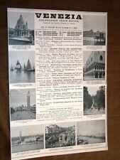 Pubblicità d'epoca per collezionisti del 1921 Feste a Venezia e Acqua Corticella