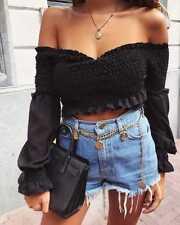 Womens Bardot Off The Shoulder Ruffle Frill Wrapover Shired Crop Top Shirt 8-14