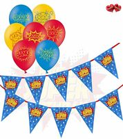 Superhero Birthday Bunting Banner and 5 printed Assorted latex balloons