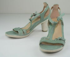 Ecco Sculptured 6 Green Leather T Ankle Strap Sandal Rubber Heels 39 8 8.5