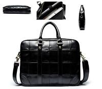 Men Women Black Leather Bag Travel Organizer Tote Cross Body Satchel Bag Handbag
