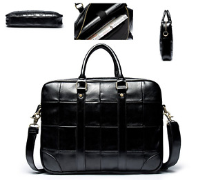 Men Women Black Leather Bag Travel Organizer Tote Cross Body Satchel Bag Handbag