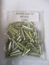 "AN426AD4-14 Aluminum Solid Rivet 1/8 x 7/8""  Alt. to MS20426AD4-14 - Lot of 100"