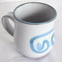 Hand Thrown Pottery Stoneware Blue Demitasse Espresso Coffee Tea Mug Cup Signed