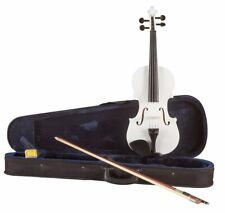 Koda Beginner Violin, 4/4 Size Fiddle, Comes with Case, Bow & Rosin - WHITE