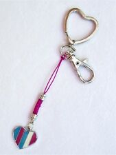 #5222 - HEART SILVERTONE KEYCHAIN WITH LOBSTER CLASP,  MULTI-COLORED HEART CHARM