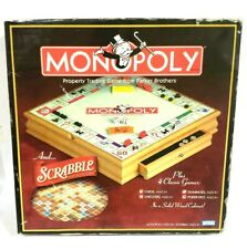Monopoly and Scrabble + 4 Classic Games | in Solid Wood Cabinet | 215261 | NEW