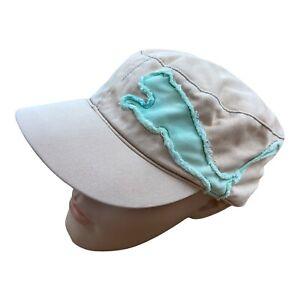 PUMA Embroidered Military Baseball Cap Hat Peach Mint Vintage Sport Adjustable