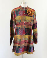 Chico's Design Patchwork Button Tunic Tapestry Jacket Chicos Sz 0 Artsy Abstract