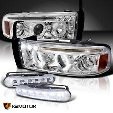 1994-2002 Dodge Ram 1500 2500 Halo Projector Headlights+Bumper LED Fog Lights