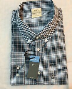 M&S COLLECTION MENS REG FIT PURE COTTON GINGHAM CHECKED SHIRT IN BLUE Mix Sz 2XL