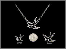 Genuine 925 Sterling Silver Tattoo Sparrow/Swallow Necklace (Small)