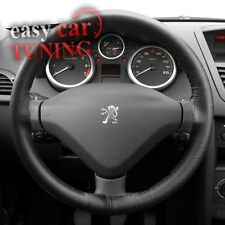 FOR PEUGEOT 407 04-10 BLACK REAL GENUINE ITALIAN LEATHER STEERING WHEEL COVER