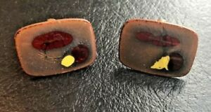 Pair Vintage MCM Red & Yellow Copper Enamel Cuff link Cufflinks
