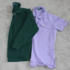 (2) RALPH LAUREN Short & Long Sleeve POLO Shirt Lot Men's Medium M Purple Green