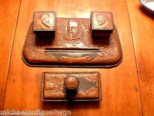 Unusual Antique Tooled Leather Double Inkwell with Blotter