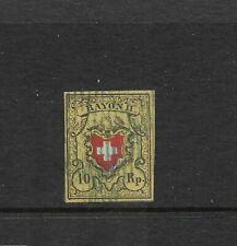 Switzerland Scott #8 used 1850 10r, yellow, black & red Rayon, no frame, f/vf
