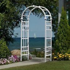 Outdoor White Athens Arbor Garden Pathway Arch Trellis Vinyl Wedding Yard Decor