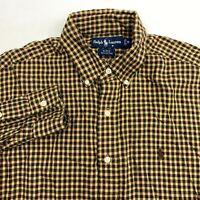 Ralph Lauren Blake Button Up Shirt Men's Medium Long Sleeve Checkered Cotton
