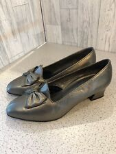 Lady X By K Shoes Bronze Leather Court Shoes With Bows Sz6/39