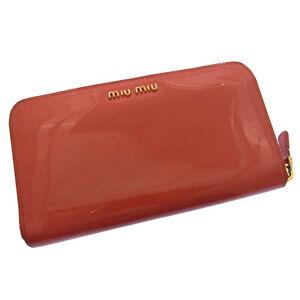 miumiu Wallet Purse Long Wallet Logo Pink Woman Authentic Used K064