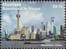 SHANGHAI (China) River & City Skyline Skyscraper Building Stamp (2015 Mustique)