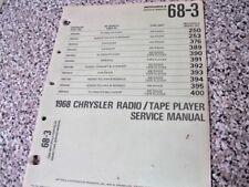 1968 Dodge Plymouth Chrysler A.M. Radio Tape Player Motorola Service Manual
