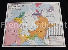 Affiche scolaire Europe 1610 à 1715 Colonies Anglaises Françaises Amérique Nord