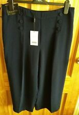 Next Tailoring Crop Navy Button Culottes Size 14R