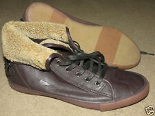 GREAT Helix brown leather-like w/ fake fur tie high-tops sneakers mens 13 M Med