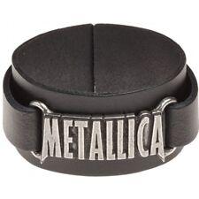Metallica Alchemy Rocks Logo Leather Wristband Black.