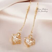 18K Yellow Gold GF Simulated Diamond 3D Hollow Out Patterned Box Dangle Earrings