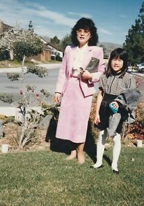 MOTHER AND DAUGHTER Portrait FOUND PHOTOGRAPH Color FREE SHIPPING Original 92 2