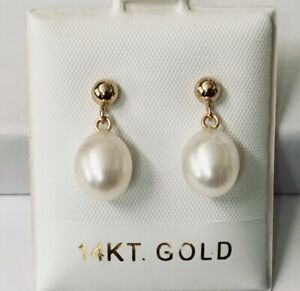 Natural Cultured Freshwater Pearl Solid 14K Yellow Gold Dangle Earrings NEW