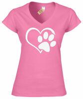 Womens Paw Print Heart T-Shirt Dog Cat Animal Lovers Ladies V-Neck T Shirt