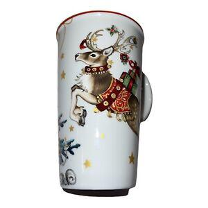 Williams Sonoma Twas The Night Before Christmas Tall Coffee Mug  Reindeer & Tree