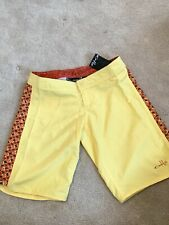 BNWT!  Women's Yellow Lemon Drop Oakley Glide Swimming Surf Board Shorts UK 8