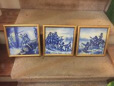 3 antique framed blue and white tiles hand painted Medieval soldier scenes nice
